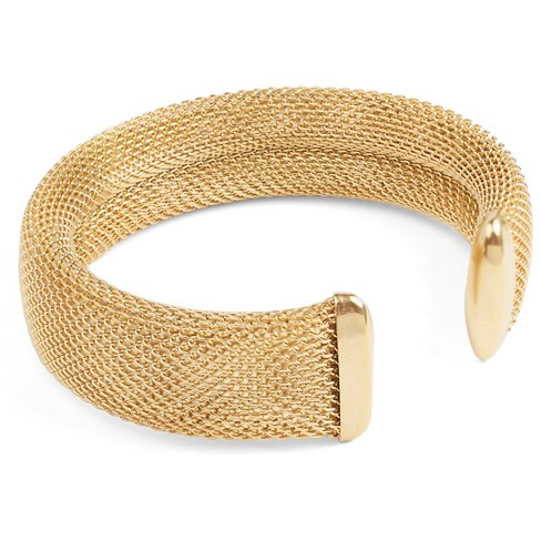 West Coast Jewelry Goldtone Stainless Steel Mesh Cuff Bracelet