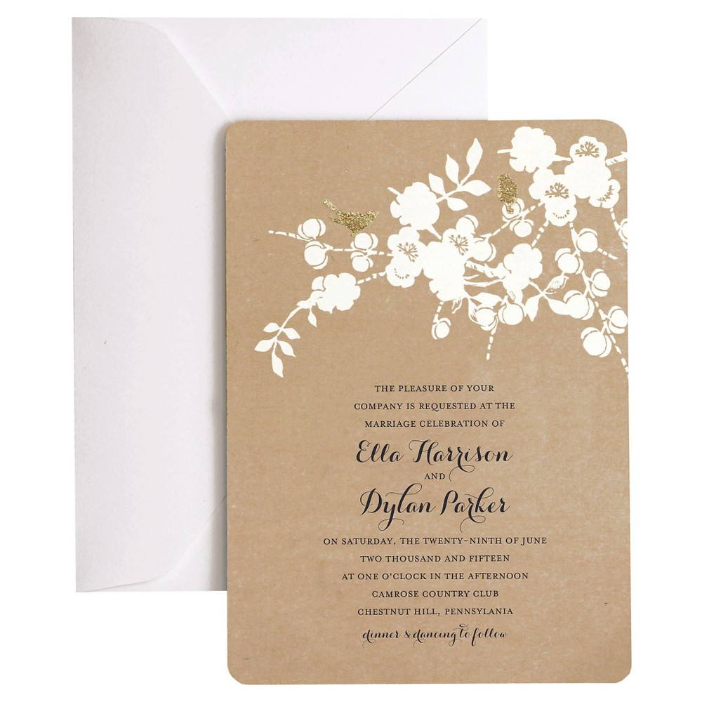 Image of 50ct Birds On Kraft Foil Invitation Pack