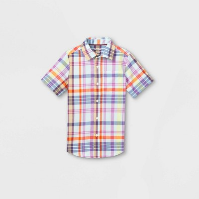 Boys' Woven Short Sleeve Button-Down Shirt - Cat & Jack™ Blue/Purple