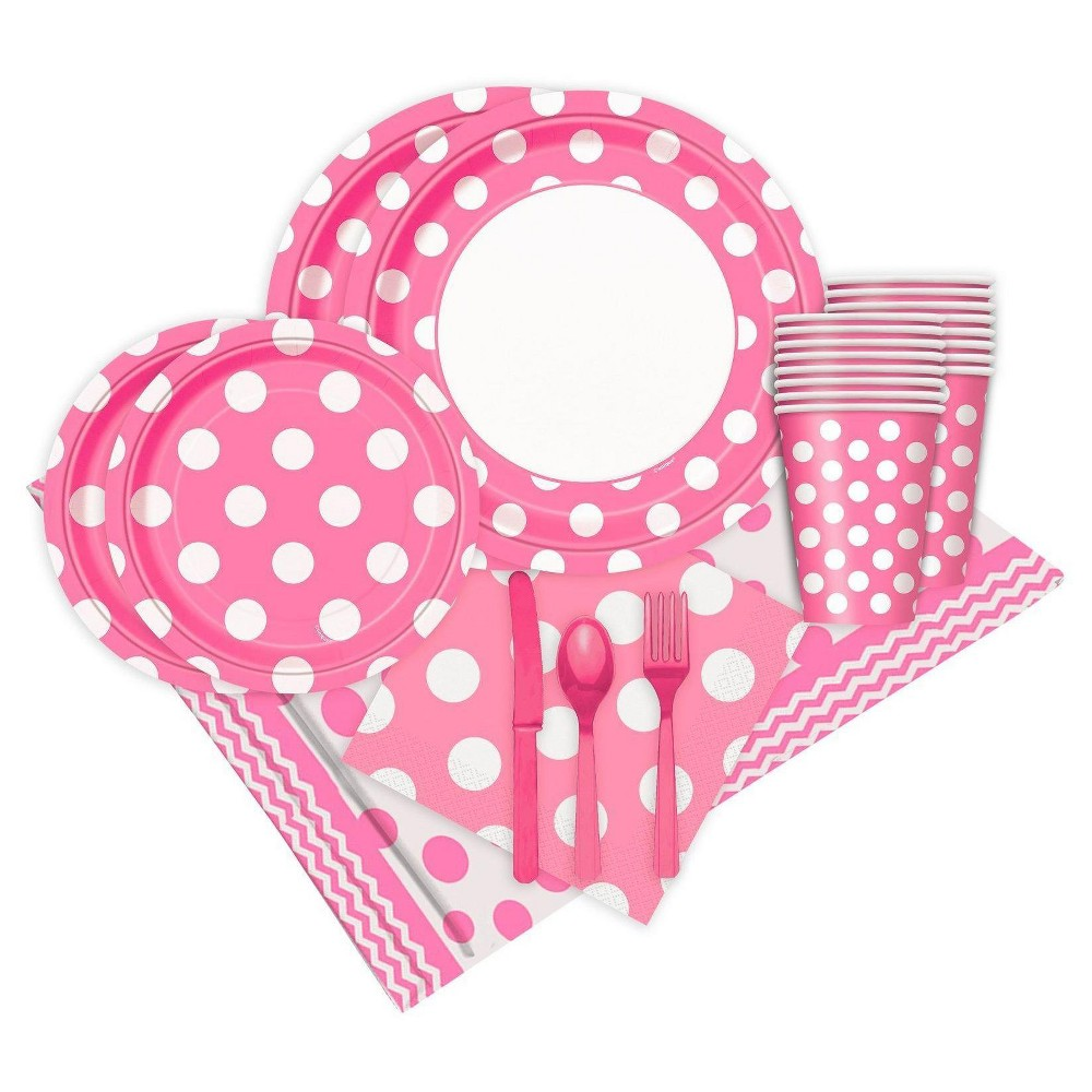 16ct Pink and White Dots Party Pack