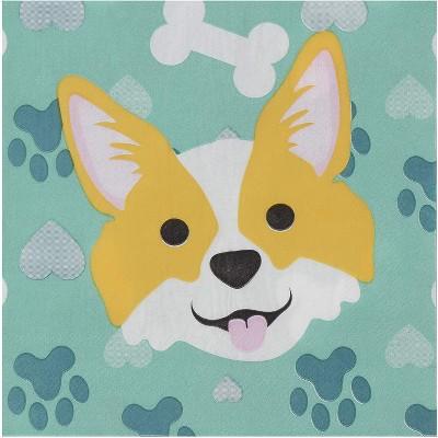 "Blue Panda 150-Pack Disposable Paper Napkins Kids Birthday Dog Themed Party Supplies, Corgi Design, 6.5x6.5"""