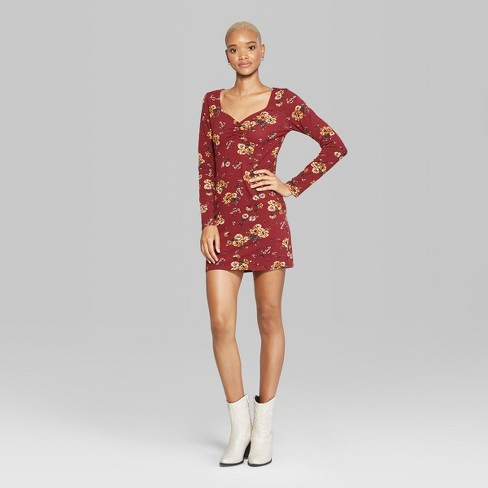 013c348e4d8 Women s Floral Print Long Sleeve Ruched Front Knit Dress - Wild Fable™  Burgundy XS   Target
