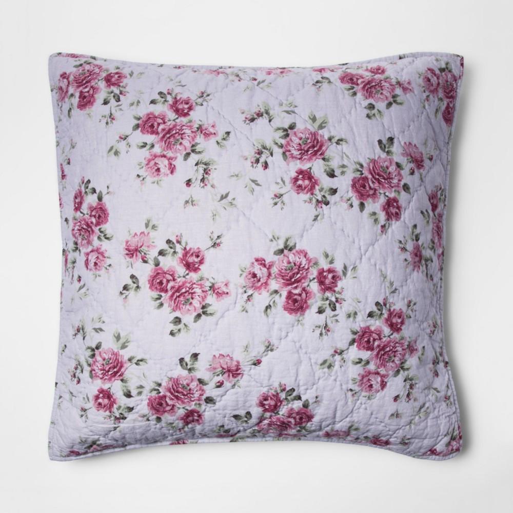 Purple Berry Rose Linen Blend Pillow Sham (Euro) - Simply Shabby Chic