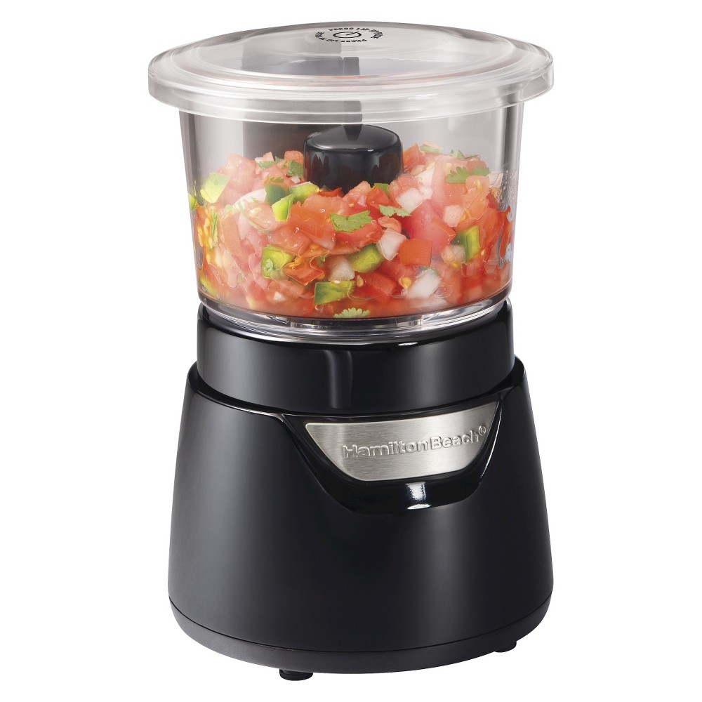 Image of Hamilton Beach Stack and Press Food Chopper - Black 3 Cup- 72860