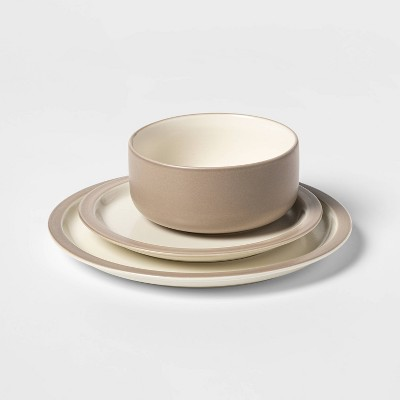 12pc Porcelain Ollers Dinnerware Set White/Brown - Project 62™