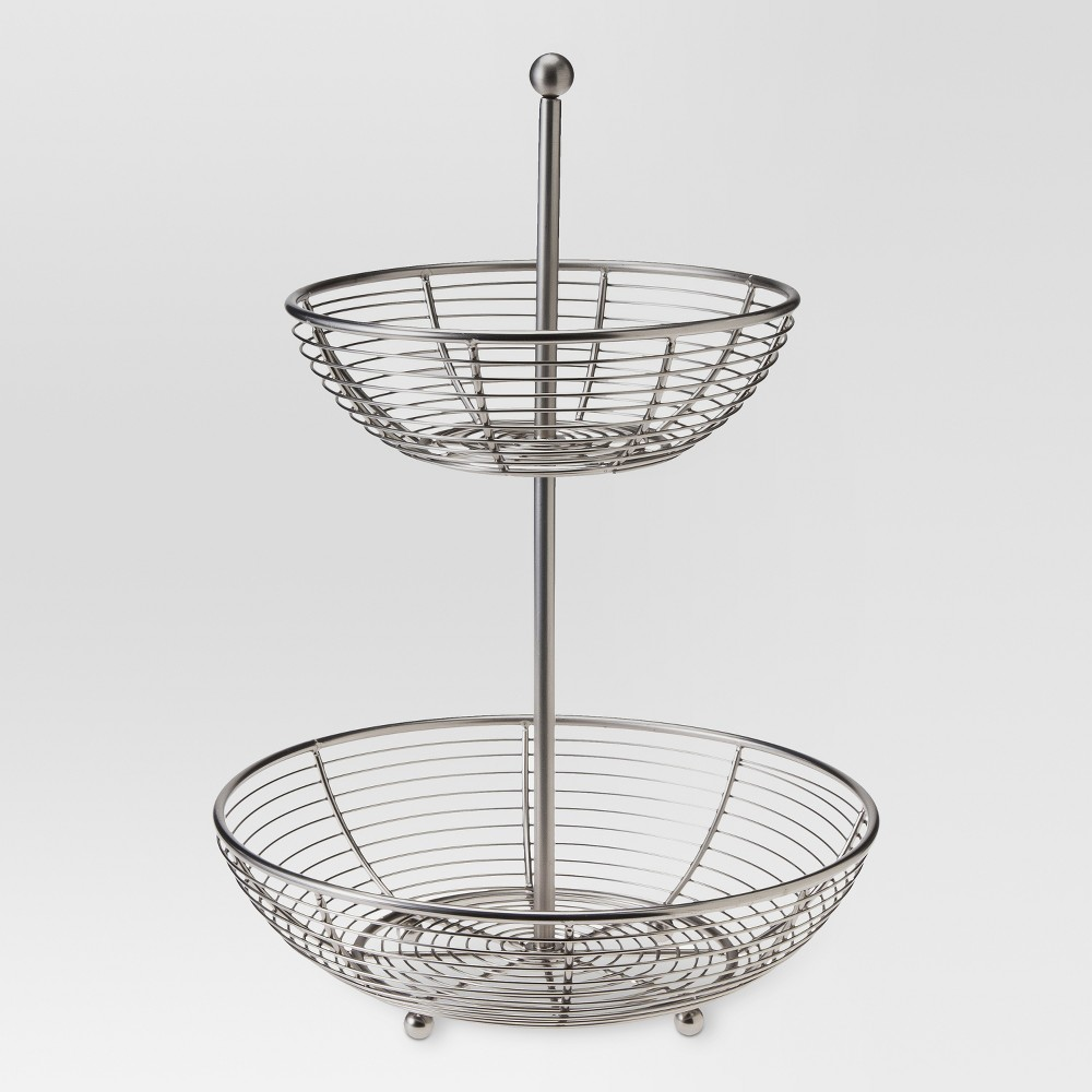 Image of Matte Finish 2-Tier Fruit Basket - Threshold , Silver