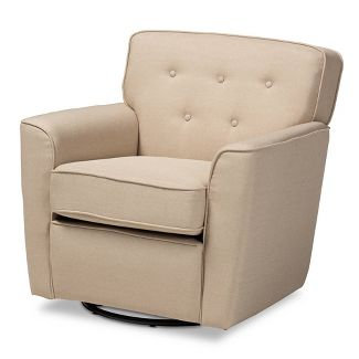 Canberra Upholstered Button Tufted Swivel Armchair Beige - Baxton Studio