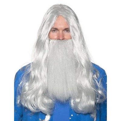 Underwraps Grey Wizard Wig and Beard Adult Costume Set | One Size