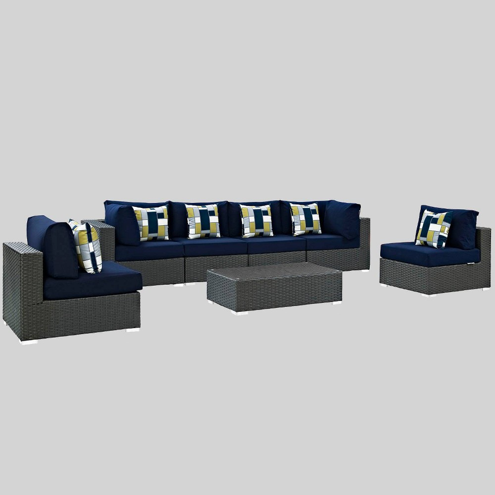 Sojourn 7pc Outdoor Patio Sunbrella Sectional Set in Canvas - Navy (Blue) - Modway
