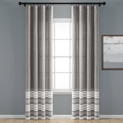"Set of 2 95""x40"" Nantucket Yarn Dyed Cotton Tassel Fringe Light Filtering Window Curtain Panels Gray/White - Lush Décor"