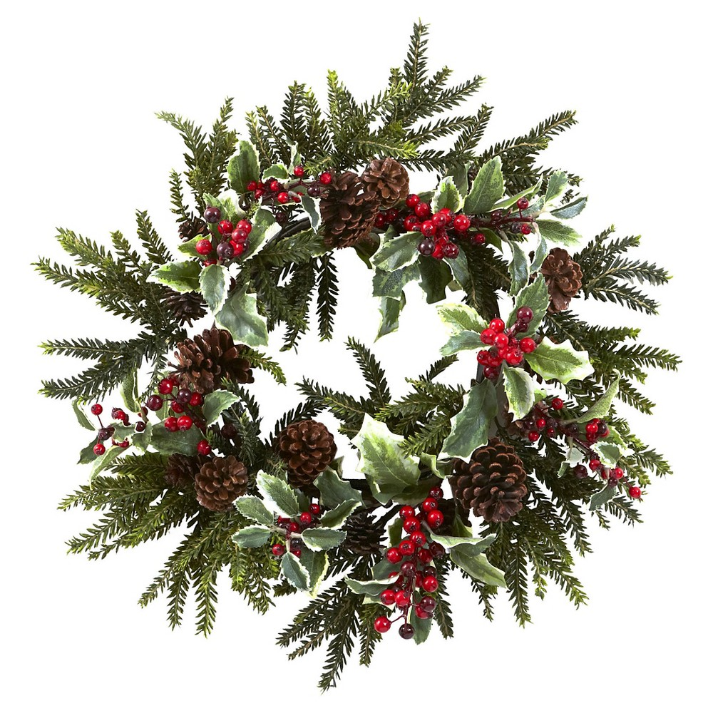"Image of ""22"""" Holly Berry Wreath - Nearly Natural"""