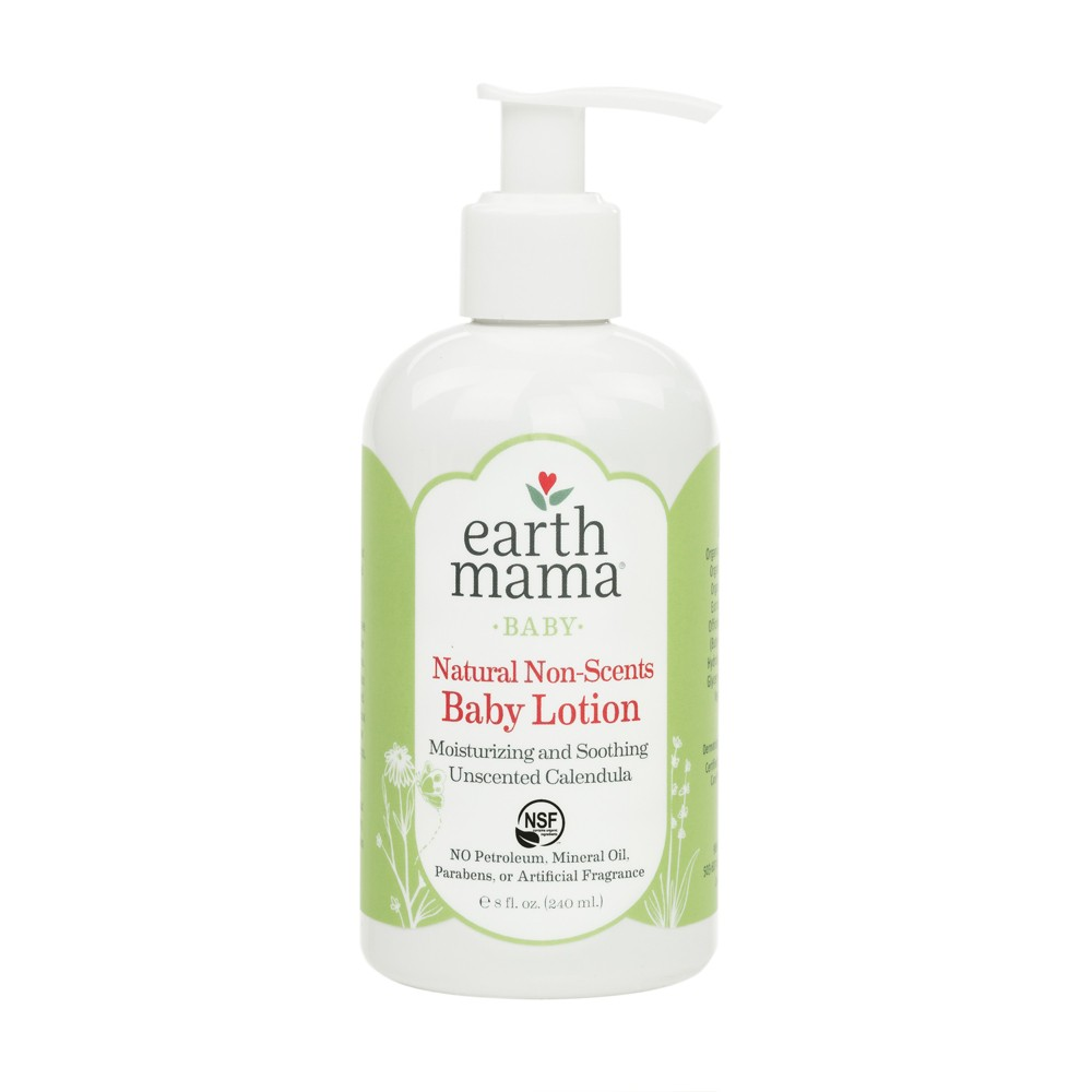 Earth Mama Angel Baby Natural Non-Scents Baby Lotion - 8oz Earth Mama Angel Baby Natural Non-Scents Baby Lotion won't irritate sensitive skin or noses, making it a wonderful choice for your little one. This soothing baby lotion is naturally unscented and extra gentle for your baby's skin. Formulated with organic ingredients like calendula and rooibos extract, this moisturizing baby lotion soothes eczema, diaper rashes and other skin conditions. This unscented baby lotion does not contain harmful toxins or synthetic dyes, making it safe for use on the whole body, diaper area, legs hands and face.