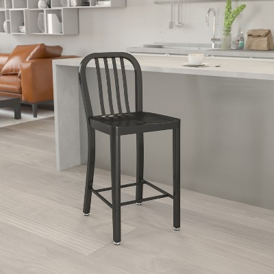 """Flash Furniture Commercial Grade 24"""" High Metal Indoor-Outdoor Counter Height Stool with Vertical Slat Back"""