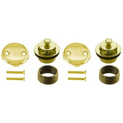Westbrass 1.5 Inch Diameter Round Twist & Close Drain Bathtub Trim Set with 2-Hole Overflow Faceplate, Polished Brass (2 Pack)