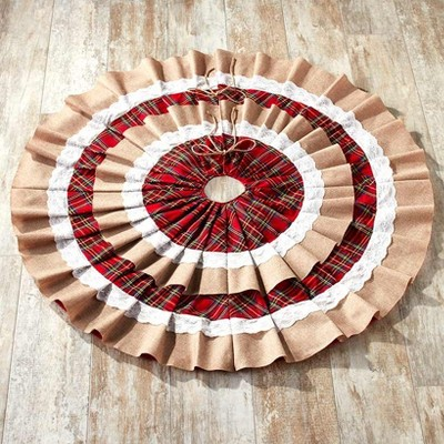 """Lakeside 48"""" Ruffled Burlap Christmas Tree Skirt with Doily Cloth and Red Plaid Rings"""