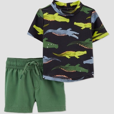 Baby Boys' 2pc Alligator Short Sleeve Rash Guard Set - Just One You® made by carter's Green 3M