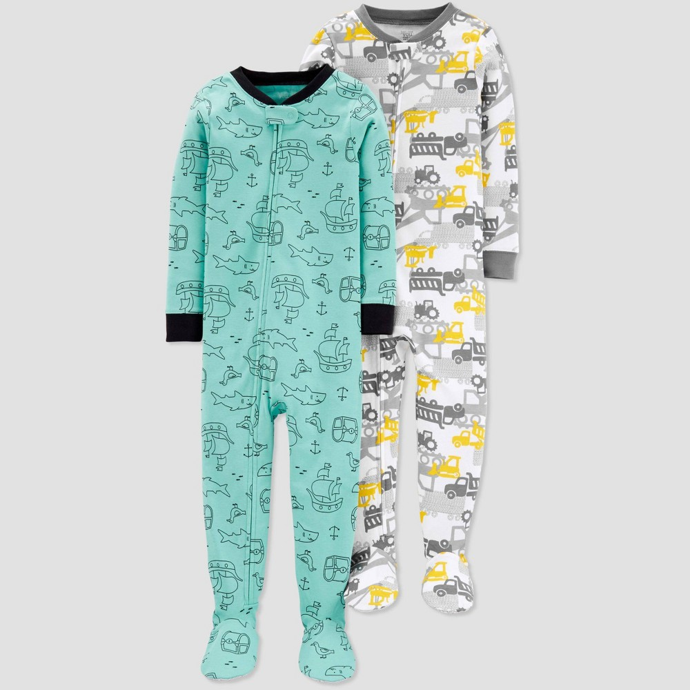Toddler Boys' Construction Pirate Poly Footed Sleepers - Just One You made by carter's Green/Gray 2T, Yellow