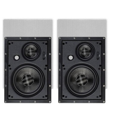 Monoprice 3-Way Carbon Fiber In-Wall Speakers - 6.5 Inch (Pair) With Magnetic Grille - Alpha Series