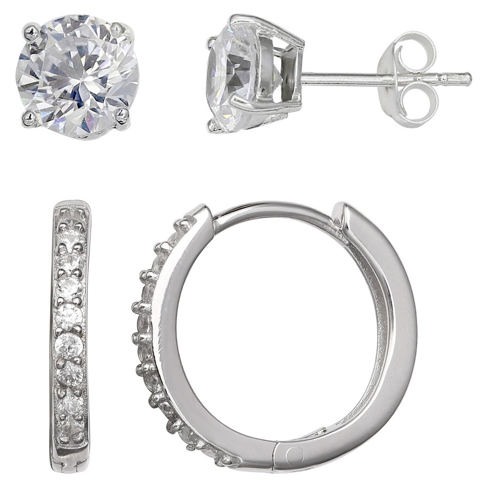 Set of Stud and Huggie Hoop Earrings with Clear Cubic Zirconia in Sterling Silver - Silver (14mm)