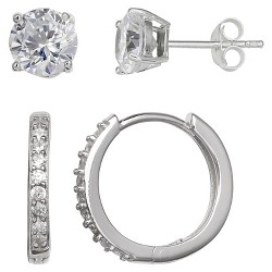 44fa89079a58 $28.99. Women's Set of Stud and Huggie Hoop Earrings with Clear Cubic  Zirconia in Sterling ...