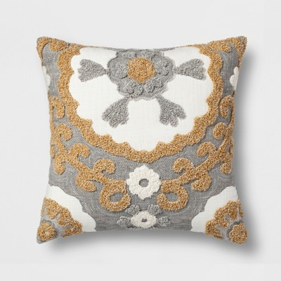 Medallion Square Throw Pillow Gray/Gold - Threshold™