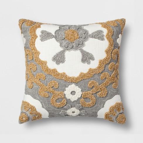 Medallion Square Throw Pillow Graygold Threshold Target