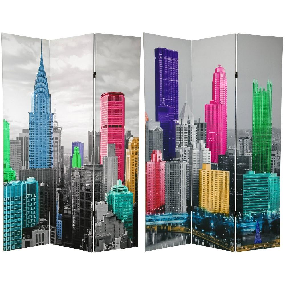 6 34 Colorful New York Scene Room Divider Blue Gray Oriental Furniture