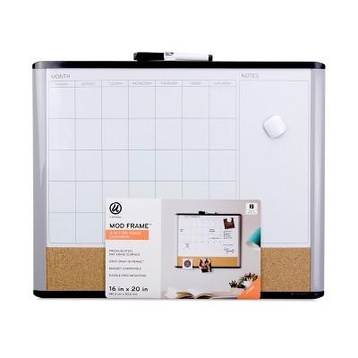 """U-Brands 16"""" x 20"""" MOD Frame 3-in-1 Dry Erase Calendar Board"""
