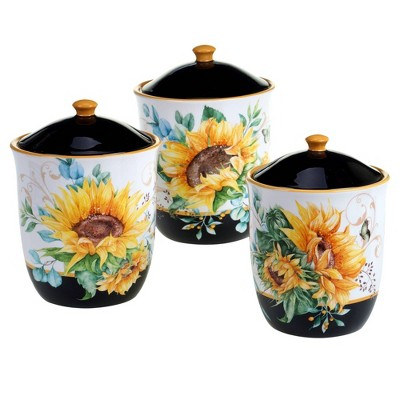3pc Earthenware Sunflower Fields Canister Set - Certified International