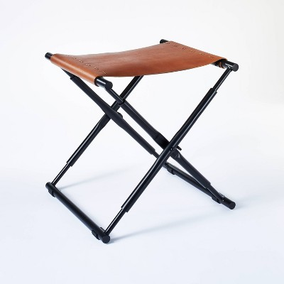 Preston Folding Leather Sling Ottoman with Metal Base - Threshold™ designed with Studio McGee