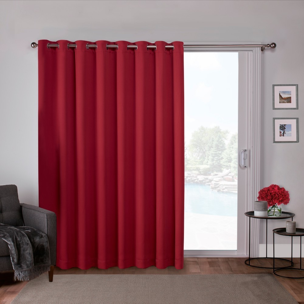 "Image of ""100""""x84"""" Sateen Blackout Solid Grommet Top Extra Wide Curtain Panel Red - Exclusive Home"""