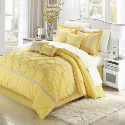 Chic Home Vermont Solid Pleating Oversized Soft Plush Microfiber Embroidered Yellow & Grey  Comforter Bed In A Bag Set 12 Piece
