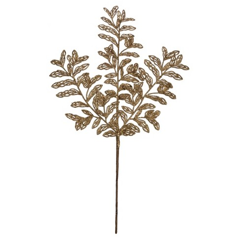 "Vickerman 22"" Gold Bipinnate Glitter Leaf Artificial Christmas Spray, 12 per Bag - image 1 of 4"
