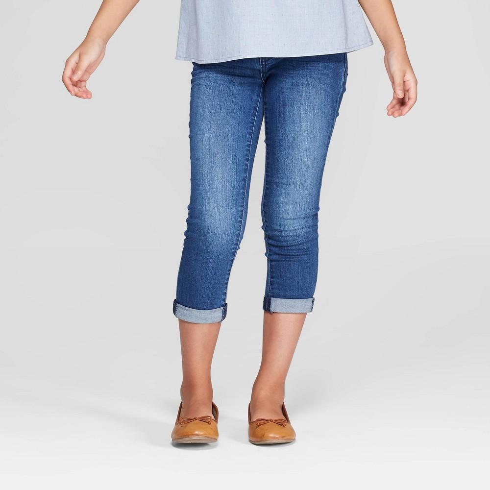 Girls' Crop Jeans - Cat & Jack Dark Wash 14, Blue