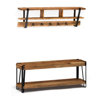 48  Ryegate Live Edge Wood Bench with Coat Hook Shelf Set Natural - Alaterre Furniture
