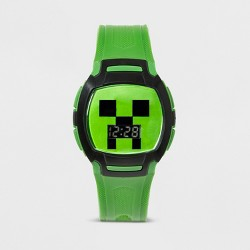 Boys' Minecraft Flashing LCD Watch - Green