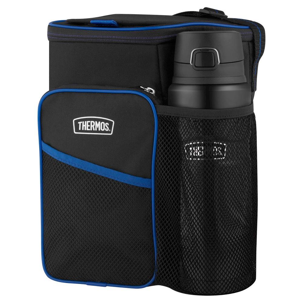 Thermos 14 Lunch Cooler and Beverage Bottle Set - Black, Blue
