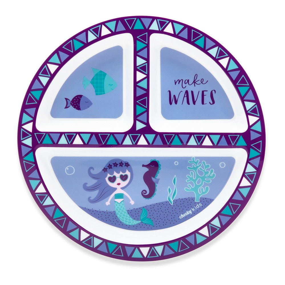 Image of Cheeky Plastic Divided Kids Plate 8.3 Mermaid - Purple