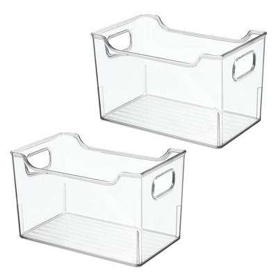 mDesign Large Plastic Home Office Desk Storage Organizer Bin, 2 Pack - Clear