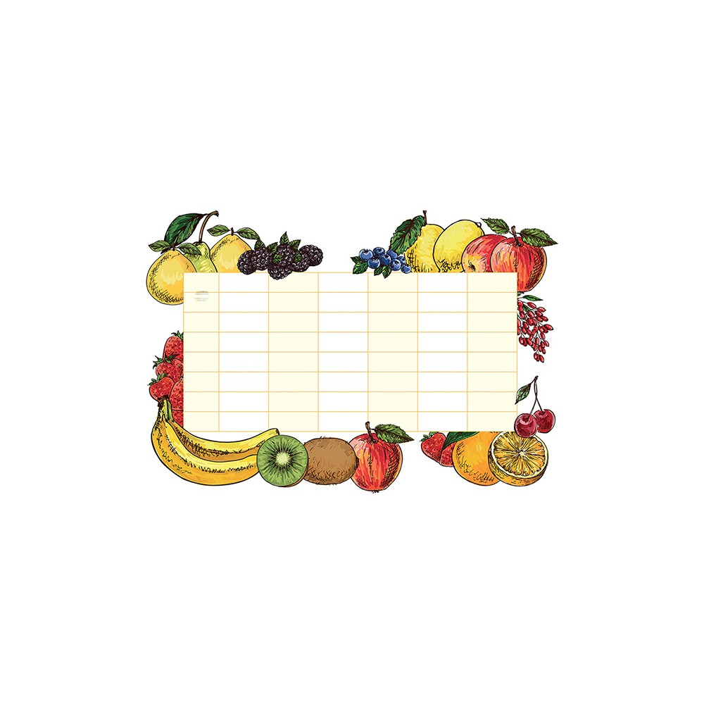 Image of DecorlineDry Erase Calendar Decal Monthly - Fruit, Multi-Colored