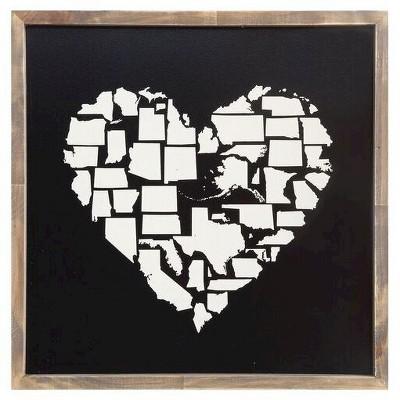 Framed States in Heart Shape Wall Décor - 3R Studios