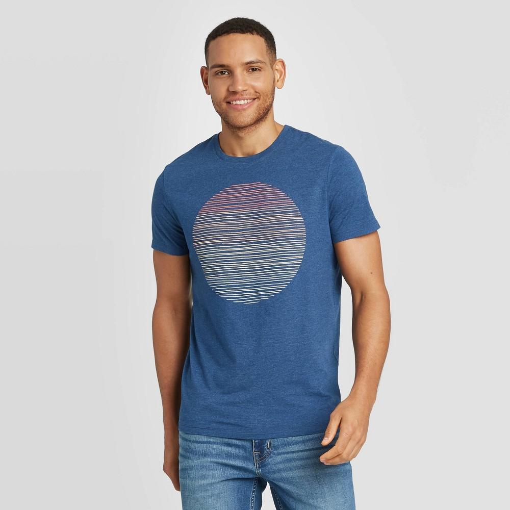 Men 39 S Regular Fit Sunset Short Sleeve Crew Neck Graphic T Shirt Goodfellow 38 Co 8482 Blue M