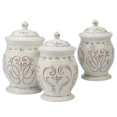 Certified International Terra Nova Ceramic Food Storage Canisters White/Brown - Set of 3
