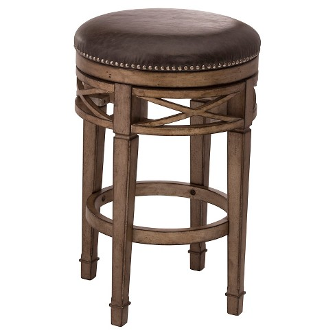 "Chesterfield Backless Swivel 30"" Barstool Wood/Gold/Silver - Hillsdale Furniture - image 1 of 1"