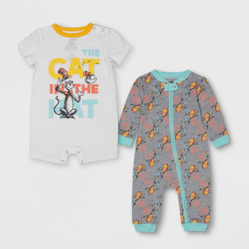 Image of petiteBaby Dr. Seuss 2pc Long Sleeve and Short Sleeve Bodysuit Set - Gray/White 0-3M, Kids Unisex