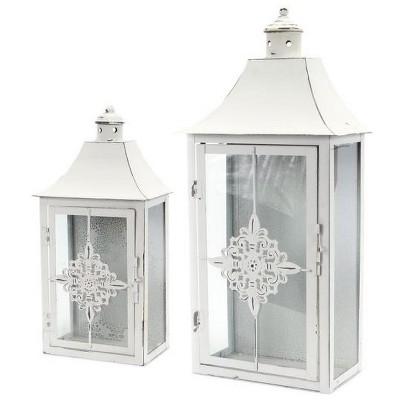 """Melrose Set of 2 Vintage Rose White Distressed Pillar Candle Lanterns 19.5"""""""