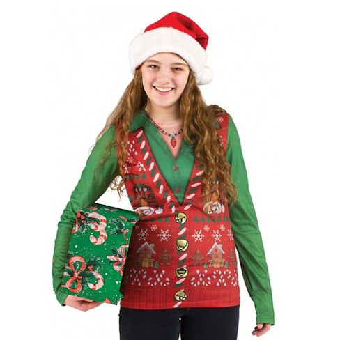 Christmas Sweater Women.Women S Costume Ugly Christmas Sweater Vest Long Sleeve Tee