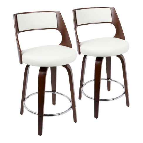 Set of 2 Cecina Mid Century Modern Counter Height Barstool with Swivel Faux Leather - LumiSource - image 1 of 4