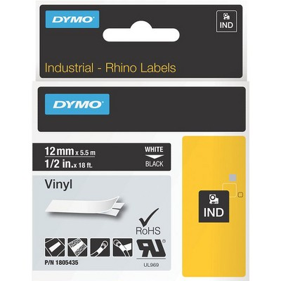 """Dymo White on Black Color Coded Label - Permanent Adhesive - 1/2"""" Width x 18 ft Length - Thermal Transfer - Black - Vinyl"""