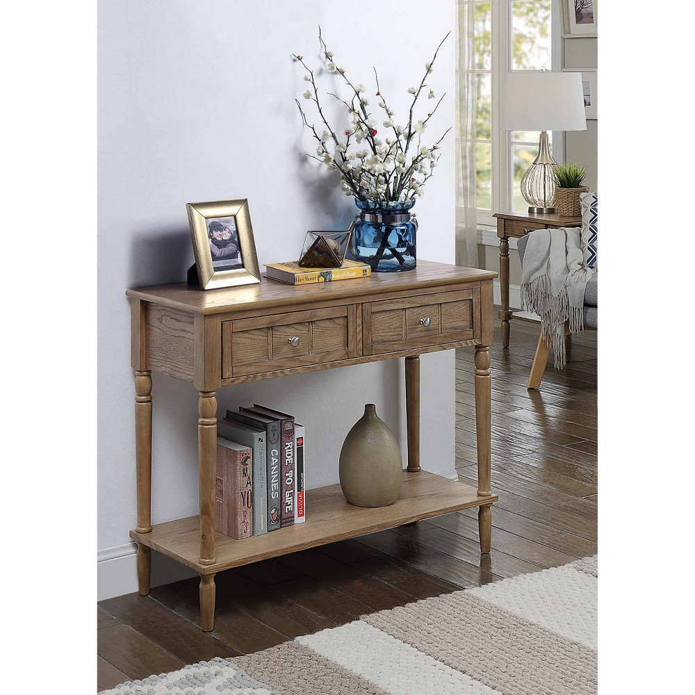 French Country Two Drawer Hall Table Driftwood Brown/White - Johar Furniture
